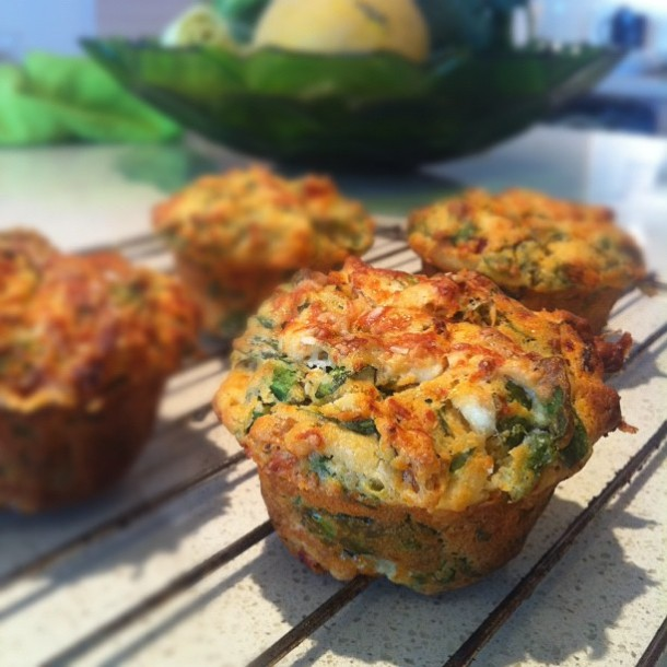 Spinach, feta, tomato and chilli savoury muffins