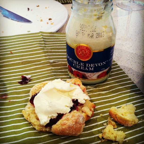 Scones with jam and cream