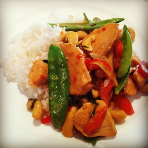Thai chicken stirfry with coconut milk, basil and sweet chilli