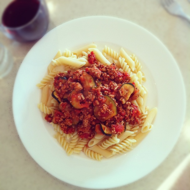 Turkey and courgette bolognese
