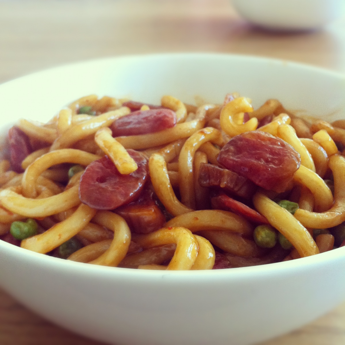 Lup cheong (Chinese sausage) with noodles