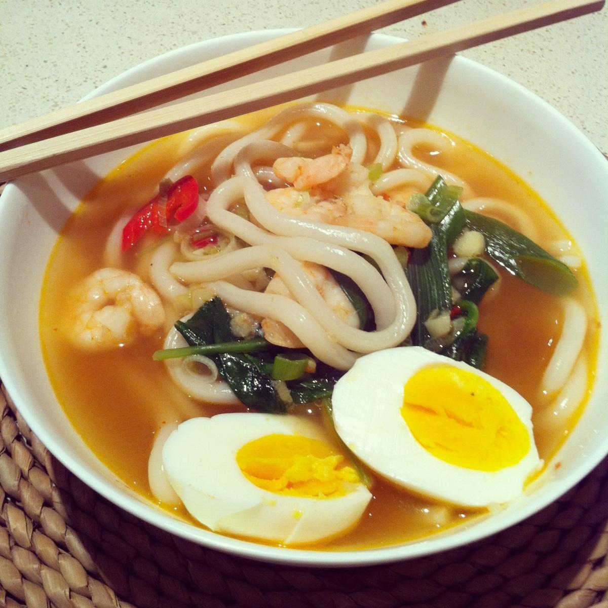 Prawn udon noodle soup
