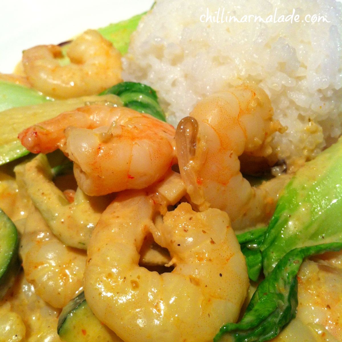 Thai yellow curry with prawns and pak choi