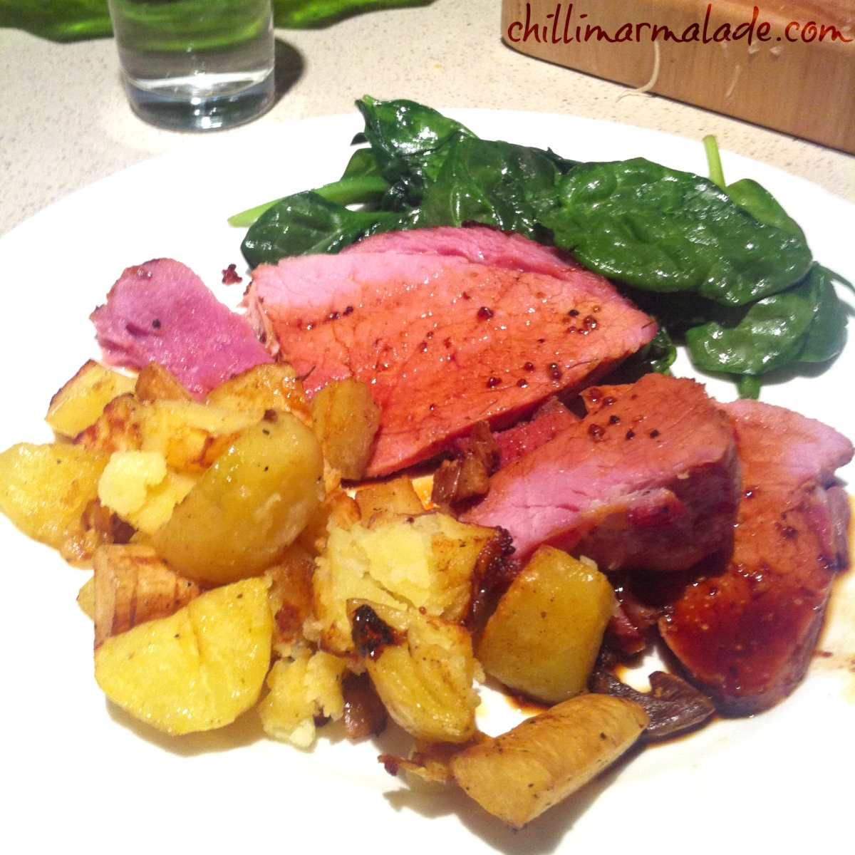 Mustard and golden syrup-glazed gammon ham