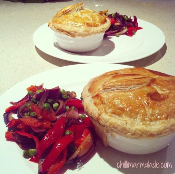 Chicken, leek and mushroom pot pie