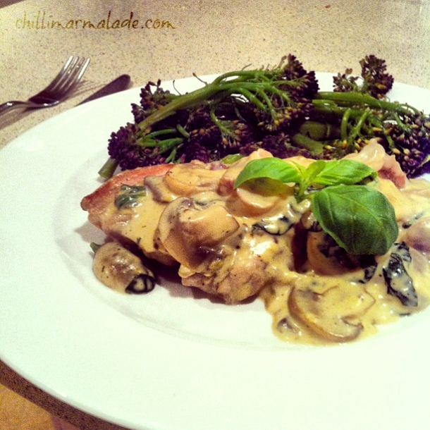 Basil cream chicken with mushrooms