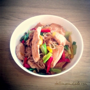 Hoisin ginger chicken with Shiratakinoodles