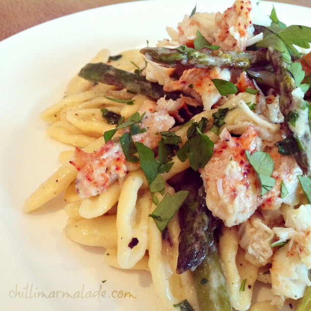 Lobster capunti pasta with white truffle cream & asparagus