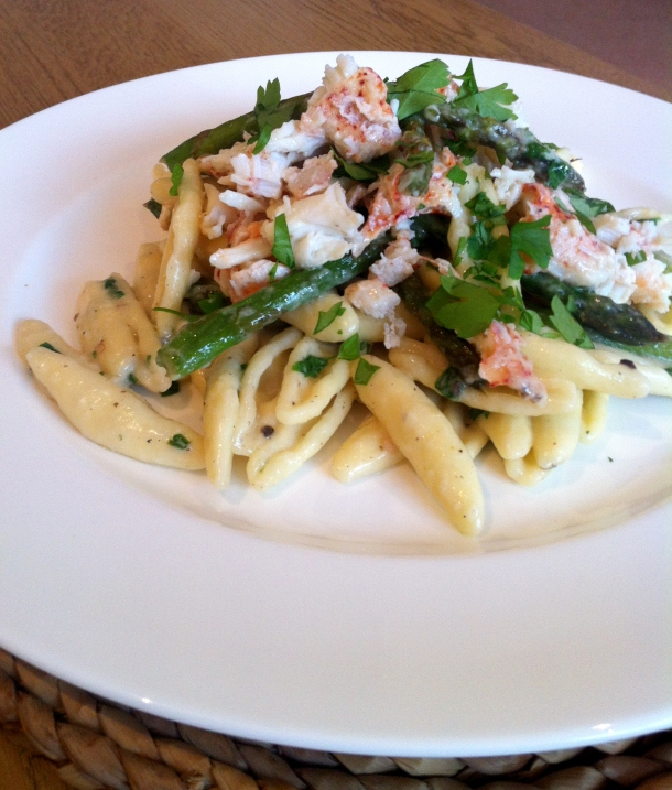 Lobster pasta with white truffle cream & asparagus