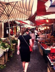 Checking out the produce at Ballaro Market, Palermo