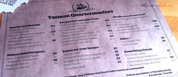 Tasman Quartermasters Menu