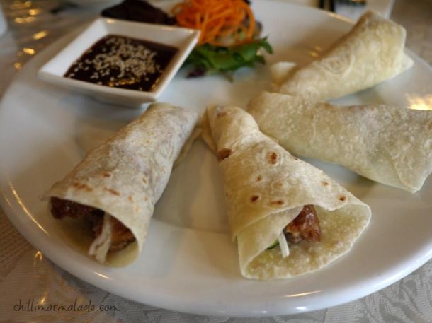 Peking duck pancakes with hoi sin sauce